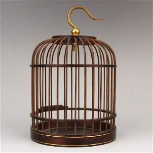 Openwork Chinese Zitan Wood Birdcage