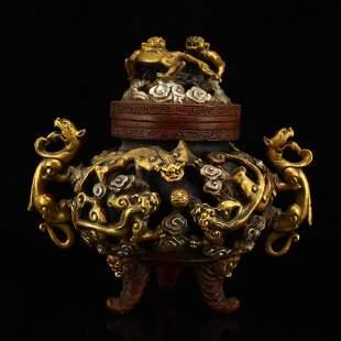 Gilt Gold Red Copper Chi Dragon 3 Legs Incense Burner