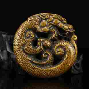 Vintage Chinese Red Copper Dragon Pendant