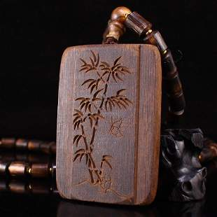 Chinese Chenxiang Wood Poetic Prose Bamboo Pendant