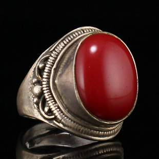 Vintage Chinese Pure Silver Inlay Red Coral Ring