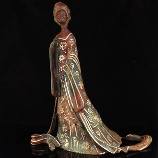 Vintage Chinese Silver Plated Bronze Woman Statue