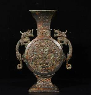 Superb Chinese Bronze Double Dragon Ears Vase