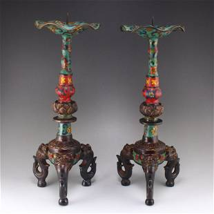 A Pair Chinese Red Copper Cloisonne Candlesticks
