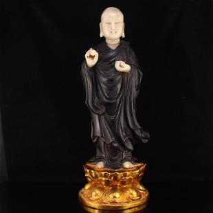 Gilt Gold Zitan Wood Inlay Shoushan Stone Buddha Statue