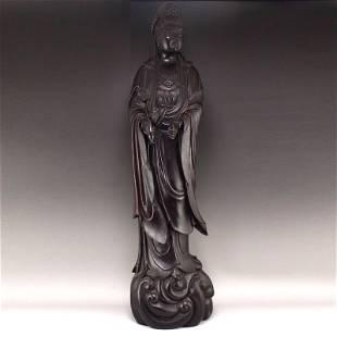 4.5Kg Superb Chinese Qing Dy Zitan Wood Kwan-yin Statue