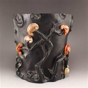 Vintage Zitan Wood Inlay Shoushan Stone Ruyi Brush Pot
