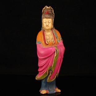 Vintage Chinese Shoushan Stone Kwan-yin Statue