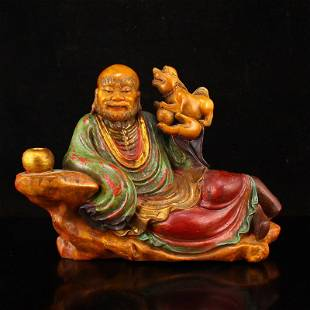 Qing Dy Gilt Gold Tianhuang Stone Buddhism Arhat Statue