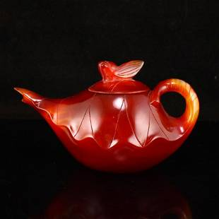 Chinese Red Agate Lotus Leaf Shape Teapot