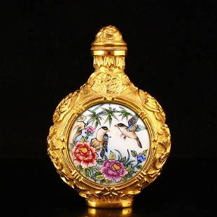 Gilt Gold Red Copper Enamel Flower Bird Snuff Bottle