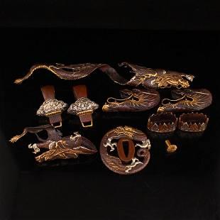 A Set Silver Gilt Gold Red Copper Sword Ornaments