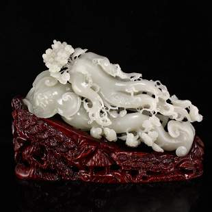 Superb Openwork Qing Hetian Jade Ginseng & Ruyi Statue