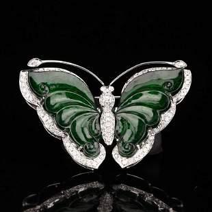White Gold Inlay Jadeite & Diamonds Butterfly Brooch