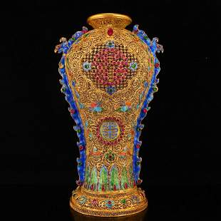Exquisite Gold Wire Enamel Inlay Ruby Double Ears Vase