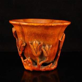 Hand Carved Bamboo Yulan Magnolia Flower Shape Cup