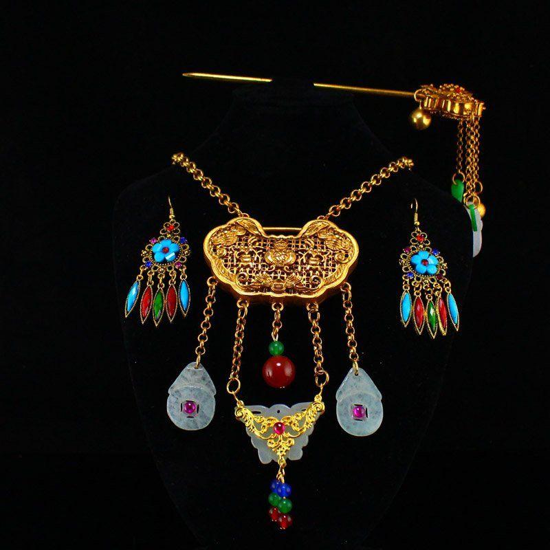 Gold Wirese Enamel Inlay Gem & Jade Jewelry Sets