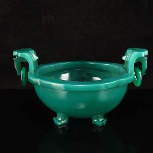 Chinese Green Agate Double Rings Incense Burner