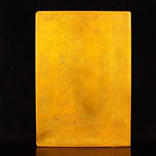 Chinese Gilt Gold Red Copper Buddhism Sutra Book