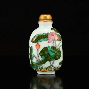 Gilt Gold Famille Rose Lotus Flower Snuff Bottle