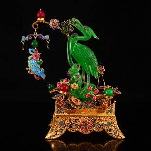 Gold Wire Enamel Inlay Green Jade Fish & Crane Statue