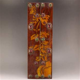Pair Vintage Chinese Huali Wood Inlay Gems Paperweights