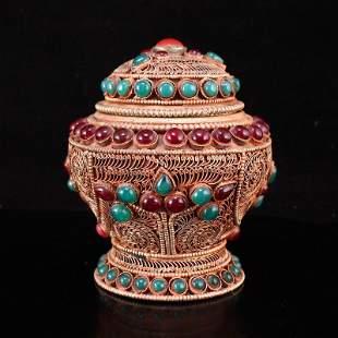 Tibetan Buddhism Silver Wire Inlay Gem Pot