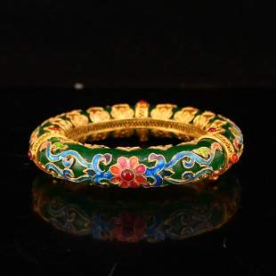 Superb Green Jade Inlay Gold Wire Enamel & Gem Bracelet