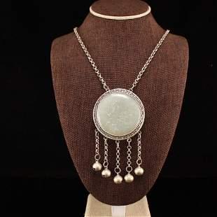 Openwork Vintage Silver Inlay Hetian Jade Pendant