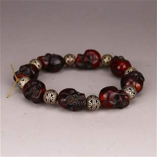 Vintage Chinese Ox Horn Carved Skull Beads Bracelet