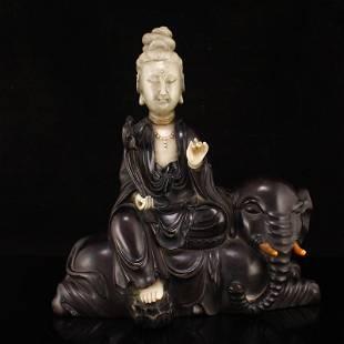 Zitan Wood Inlay Shoushan Stone Samantabhadra Statue