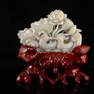 Natural Hetian Jade Mandarin Duck & Lotus Statue