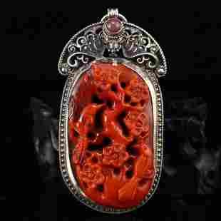 Qing Dynasty Pure Silver Inlay Nanhong Agate Pendant