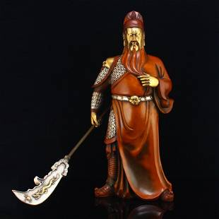 5 Kg Gilt Gold Red Copper General Guangon Statue