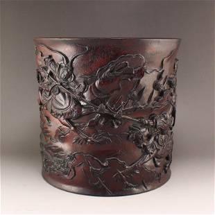 Vintage Chinese Zitan Wood Low Relief Figures Brush Pot