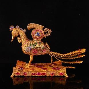 Exquisite Gold Wire Enamel Inlay Ruby Phoenix Statue