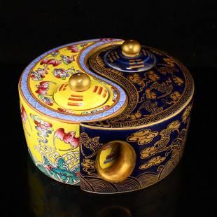 Gilt Gold Famille Rose Bagua Porcelain Teapot