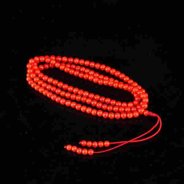 Beautiful Chinese Red Coral Beads Necklace