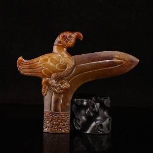 Vintage Chinese Hetian Jade Divine Bird Knive