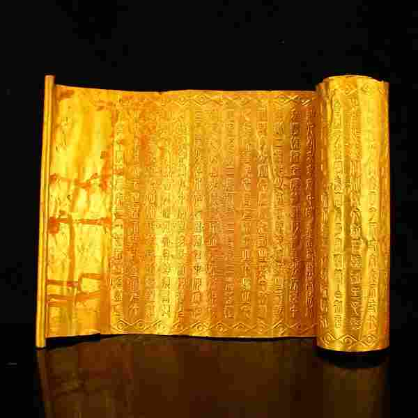 Old Chinese Gilt Gold Red Copper Buddhism Sutra Book