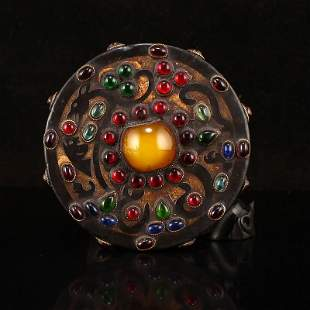 Vintage Chinese Jade Inlay Gold Wire & Gem Pendant