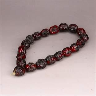 Vintage Chinese Ox Horn Arhat Head Bracelet