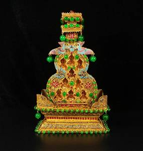 Exquisite Chinese Gold Wire Enamel Inlay Ruby Shrines