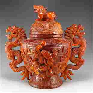 Qing Dy Ox Horn Double Dragon Big Incense Burner