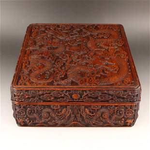 Chinese Zitan Wood Cloud Dragon Design Jewelry Box