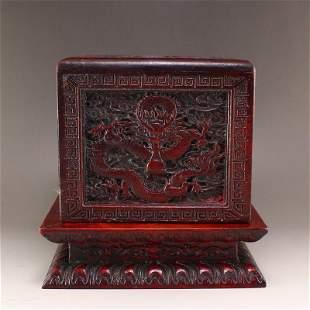 Chinese Zitan Wood Fortune Dragon Design Seal Box