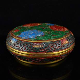 Vintage Chinese Lacquerware Low Relief Jewelry Box