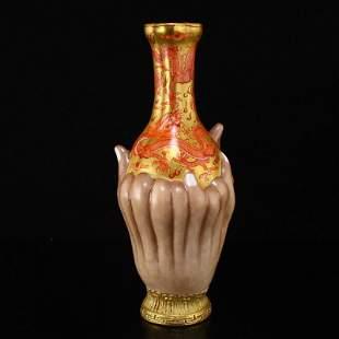 Gilt Gold Iron Red Glaze Lucky Dragon Design Vase