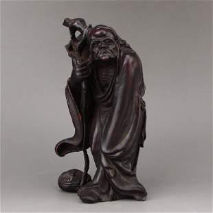 Chinese Qing Dynasty Zitan Wood Buddhism Arhat Statue