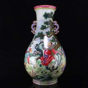 Gilt Edge Famille Rose Porcelain Double Ears Vase
